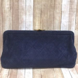 Adrian Gold of London Vintage Blue Suede Clutch